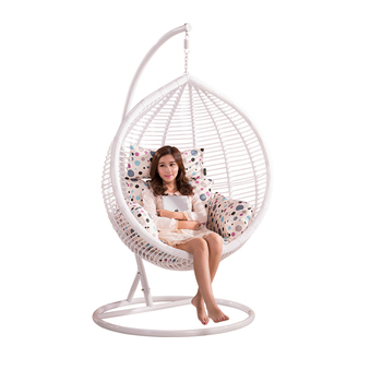 rattan porch hanging chaise lounger swing chair with arc stand