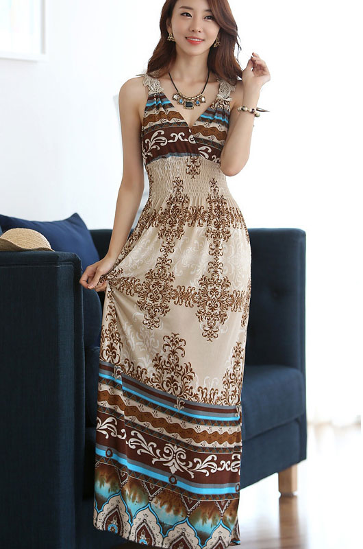 Wholesale Bohemia Print Elegant Wrapped Neck Summer Beach Maxi Dress