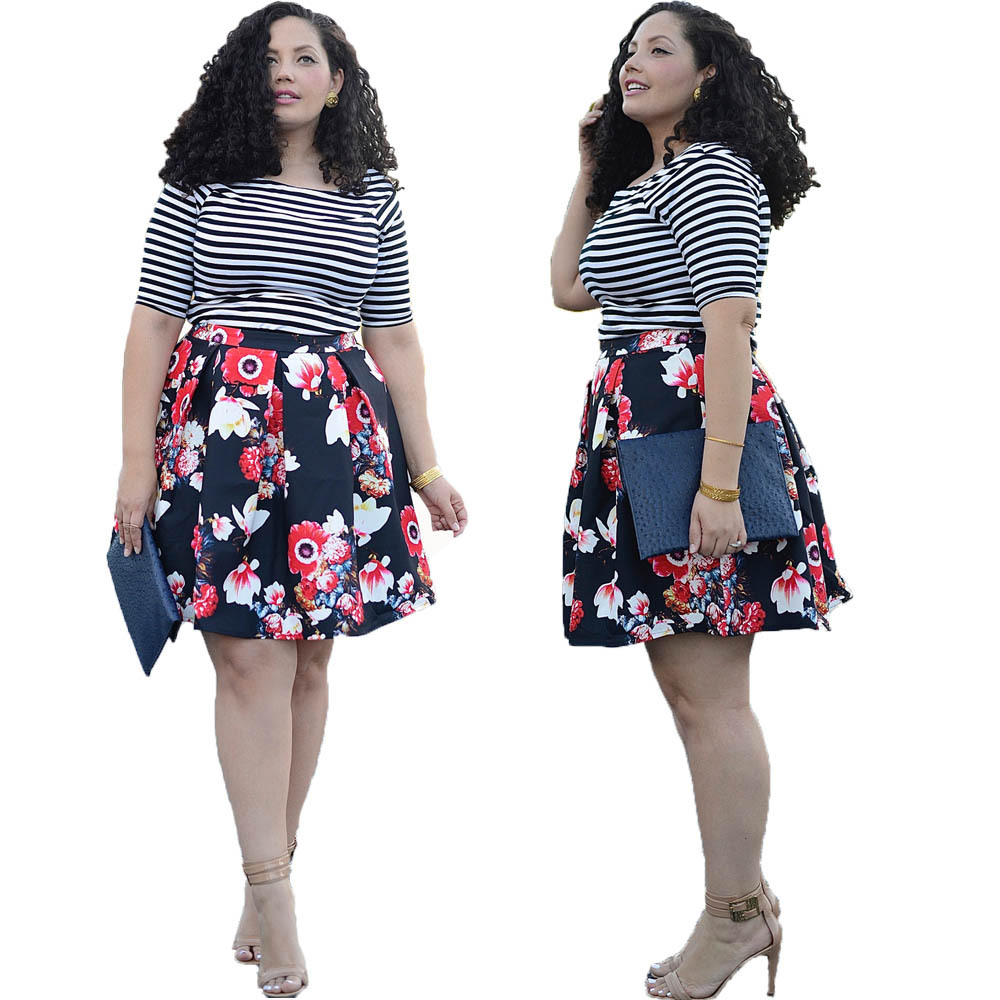 F20455A Fashion women plus size dresses plus size women clothing stripe t shirt floral printed skirt for fat ladies