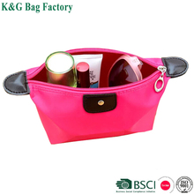 Satin material dumpling shape portable cosmetic bag