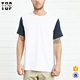 Alibaba online shopping men short sleeve crew neck two tone blank t-shirt