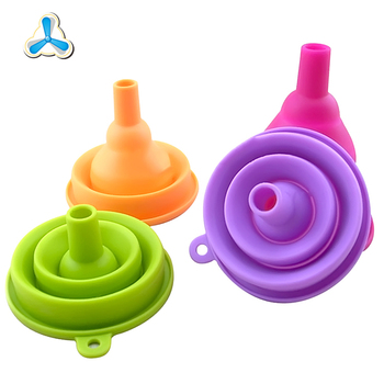Easy storage and custom color collapsible silicone rubber funnel