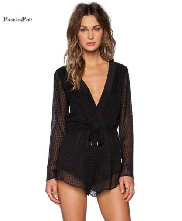 1df5c8741 Get Quotations · Combinaison Femme Sexy Club Jumpsuits Perspective Backless Long  Sleeve Jumpsuit Women Short Black Romper Overalls Combishort