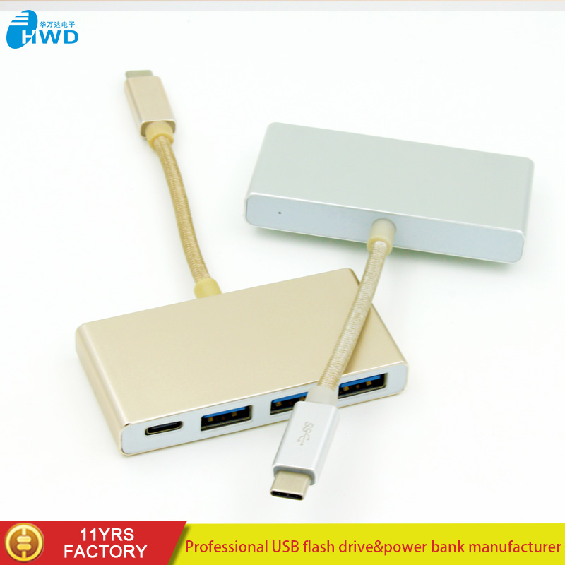 USB 3 in 1 Type-C to 3.0 USB/2 USB 2.0 HUB Multiport Adapter PD Charging For Laptop, Silver/gold/gray