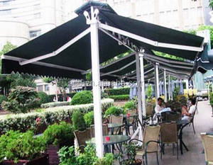 Coffee shop aluminium double sided retractable awnings