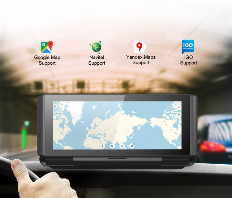 "6.86 ""Android 5.1 4G Dash Cam Dual Camera Car GPS Navigation Support WiFi Bluetooth ADAS Remote Monitoring"