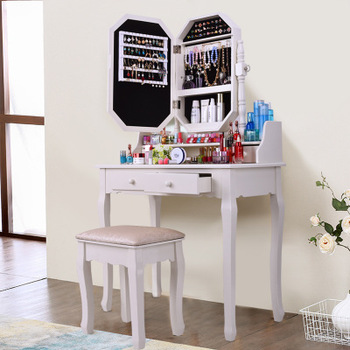 Solid Wood Modern Vanity Cosmetic Dressing Table Cabinet Mirror Makeup Desk With 2 Drawers Mirror