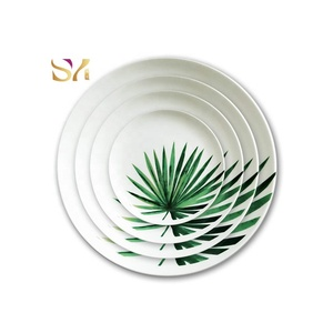 High Quality new style green dinner charger plate, palm leaf dinnerware set