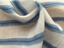 BLUE STRIPE YARN-DYED SILK COTTON ORGANZA FABRIC