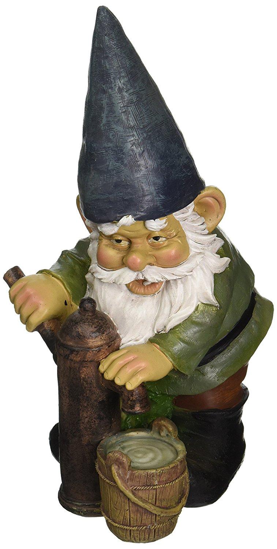 Garden Gnome Statue - Water Pump Pete Garden Gnome - Lawn Gnome