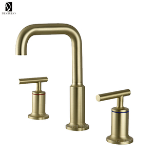 Widespread Lavatory Faucet with Low Gooseneck Spout and Low Lever Handles Moderne Brushed Gold 3 hole 2 Way bathroom faucet