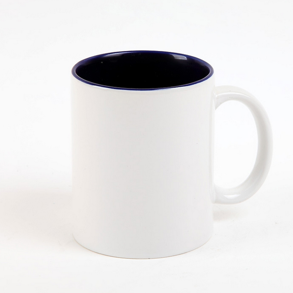 350ML cheap plain white ceramic personalized mug with inside color for coffee shop