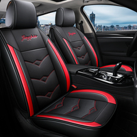 PU Leather Sweat Car Seat Cover 5 Seats Full Set Car Seat Cover Black Fine Needlework Red Line Stitching