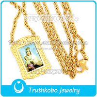 Cheap gold plated rosary beads virgin Mary rosary necklace free rosary bead necklace