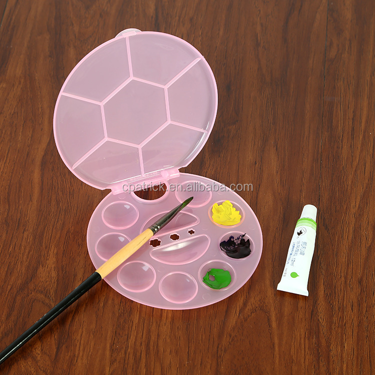 Art supplier Three colour Round flower shape painting plastic palette with lid