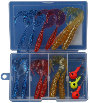 OK FISHING 16PCS 8CM Curly Tail Grub Lifelike Action SoftWorm Plastic Lures Assortment , Jigs Carp Fishing Tackle Box, WeiHai