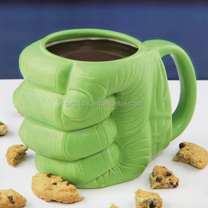 OXGIFT Wholesale Price Amazon Custom Porcelain Hulk green Anime Cartoon Shaped fist Ceramic milk coffee tea water cup
