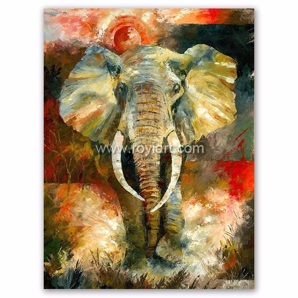 Newest design african animal artwork modern abstract elephant oil painting on canvas