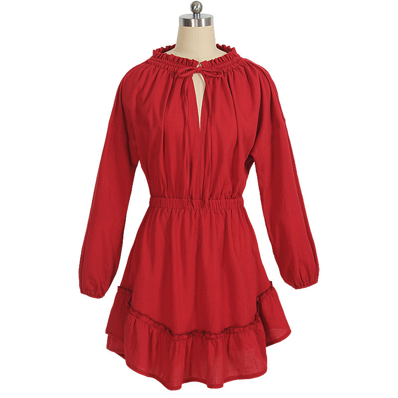 Autumn and Winter 2015 New Fashion Women Long Sleeve Red Linen Elegant Dress Plus Size Womens Vintage Wear Mini Ruffle Vestidos