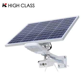 HIGH CLASS Outdoor waterproof ip66 20w 30w solar led street light with cctv camera