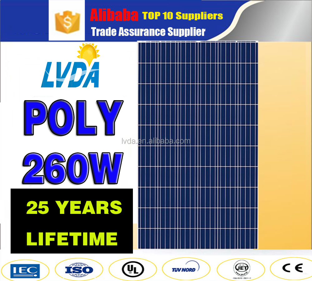 25 years lifetime panel solar Hot sale 260w poly solar panel kits for home off grid system in Georgia solar panel