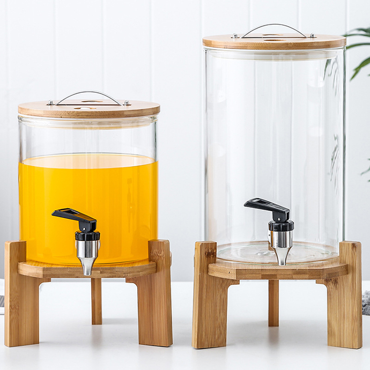 5l large glass ginseng juice beverage jar with water faucet