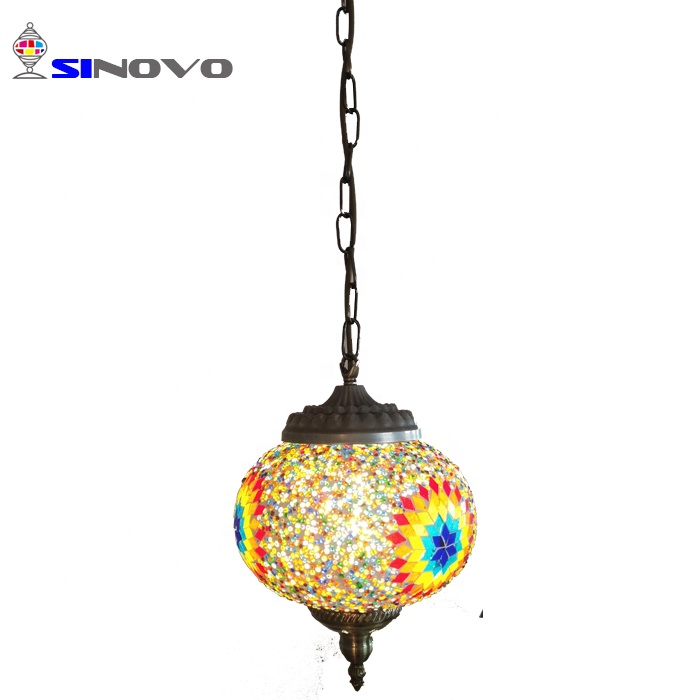 SINOVO china manufacturer Creative turkish led hanging light <strong>modern</strong> with handmade mosaic lampshade