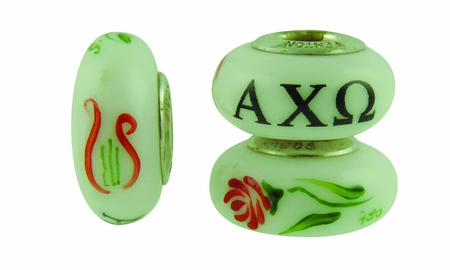 Alpha Chi Omega Hand Painted Fenton Glass Bead Fits Most European Style Charm Bracelets
