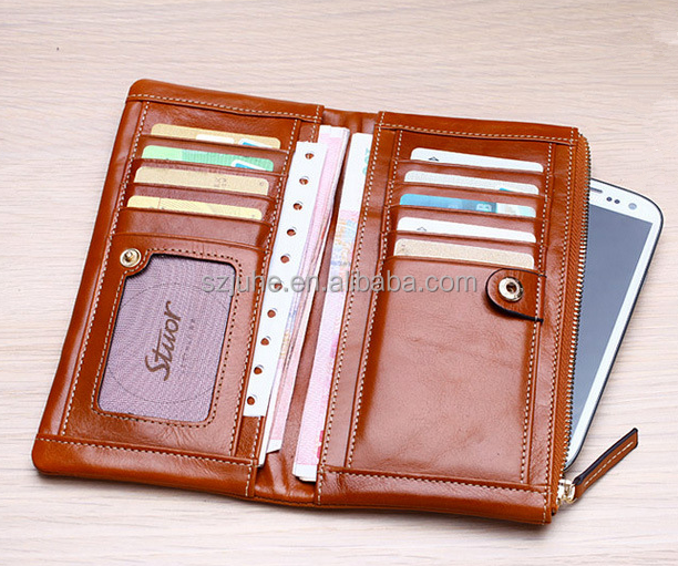 Free sample!! Cell phone pocket zippered ladies long wallet cow genuine leather wallet women