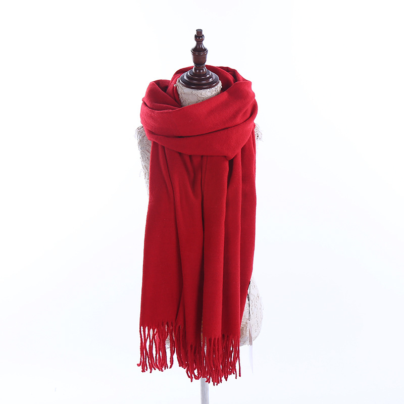 2017 New Women Scarf and Shawls Winter Warm Red Scarves Luxury Brand Soft Fashion Wraps Wool Cashmere Shawl (RF0055)