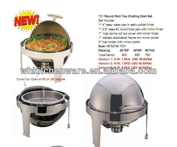 180 Degree Round Roll Top Glass Lid Chfing Dish