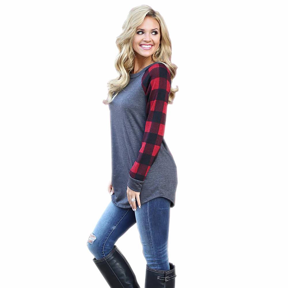 Amazon Hot sell Women long sleeve blouse Ladies Plus size O neck blouse фото