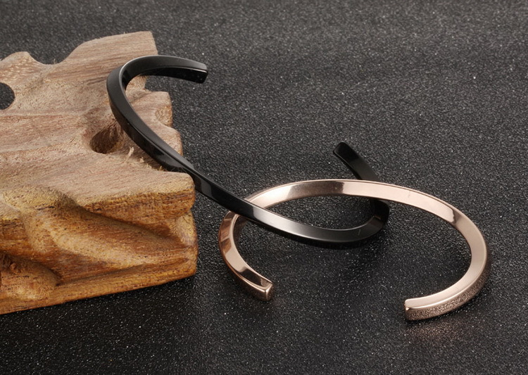 Retail Online Shopping Stainless Steel Cuff Simple Couple Bracelets