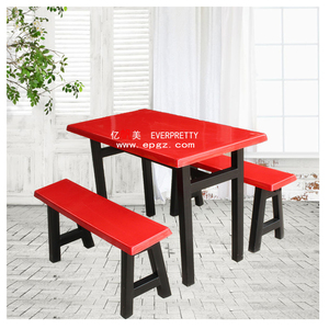 everprettty canteen furniture fiber glass dining table and bench set