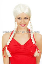 HW0046 delicate women synthetic wig,white synthetic wig, double Braided hair