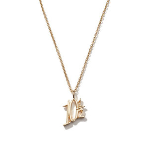 NL295 JN Letter Dainty necklace Wholesale Number 10 1/2 Pendant Necklace Charm in Gold or Silver