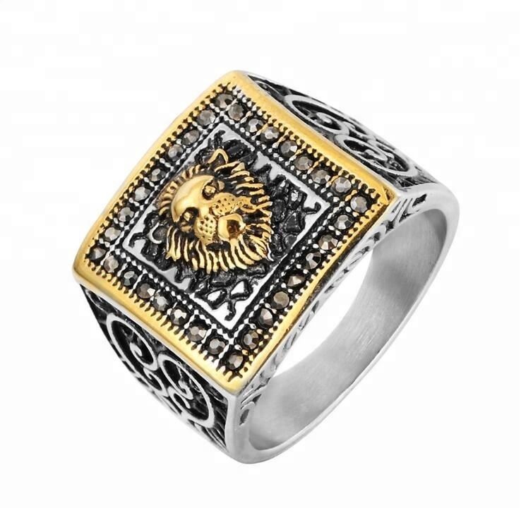 Totem Lion Head Titanium Steel Men's <strong>Rings</strong>