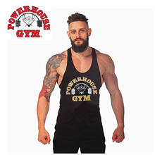 2014 Newest Brand powerhouse musculation Bodybuilding Fitness Men Cotton T Shirt Vest Men'  Gym Tank Tops Sports Plus Size M-XXL