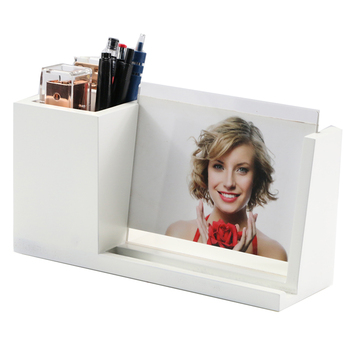 Wooden Desk Organizer With Photo Frame Notepad Holder Multi Purpose Use Pen Cup Pencil Pot