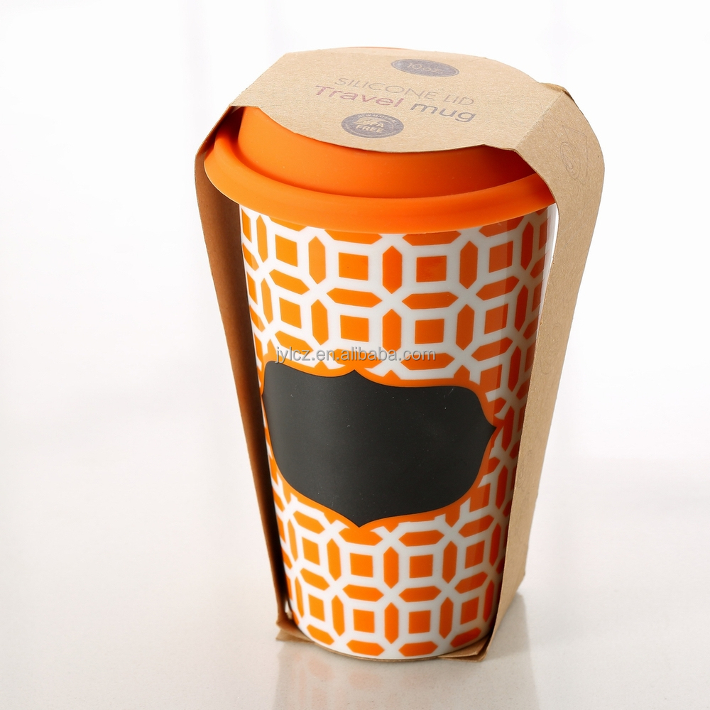 280cc double wall reusable ceramic coffee cup with silicone lid