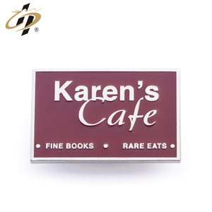 Metal alloy custom cafe shop square shaped decorative enamel pin badge