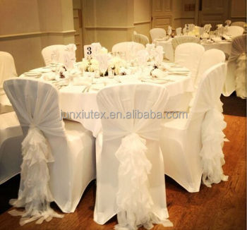 New Design Chiffon Ruffled Wedding Chair Cover Sash With Hood Chiavari Sashes