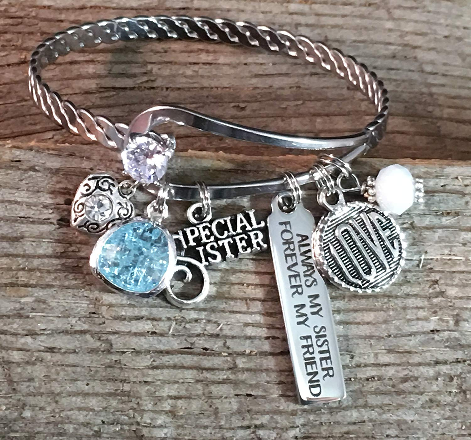 Get Quotations Bar Charm Bracelet BANGLE Sister Gift SISTER Jewelry