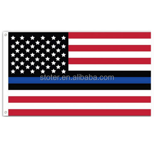 Fine Thin Blue Line US FLAG USA American Stars Stripes United States Grommets