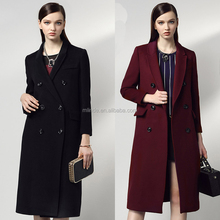 Women Wool Coat Double Breasted Peacoat Fall Winter Solid Color Trench Coat Back Split Black Lady Swing Long Coats Plus Size