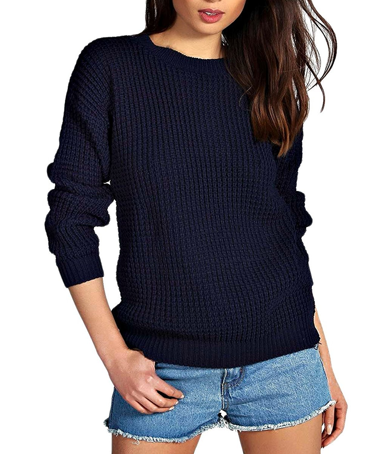 c72f267aa9a161 Get Quotations · Crazy Girls Womens Ladies Chunky Oversized Baggy Knitted  Jumper Sexy Sweater Top