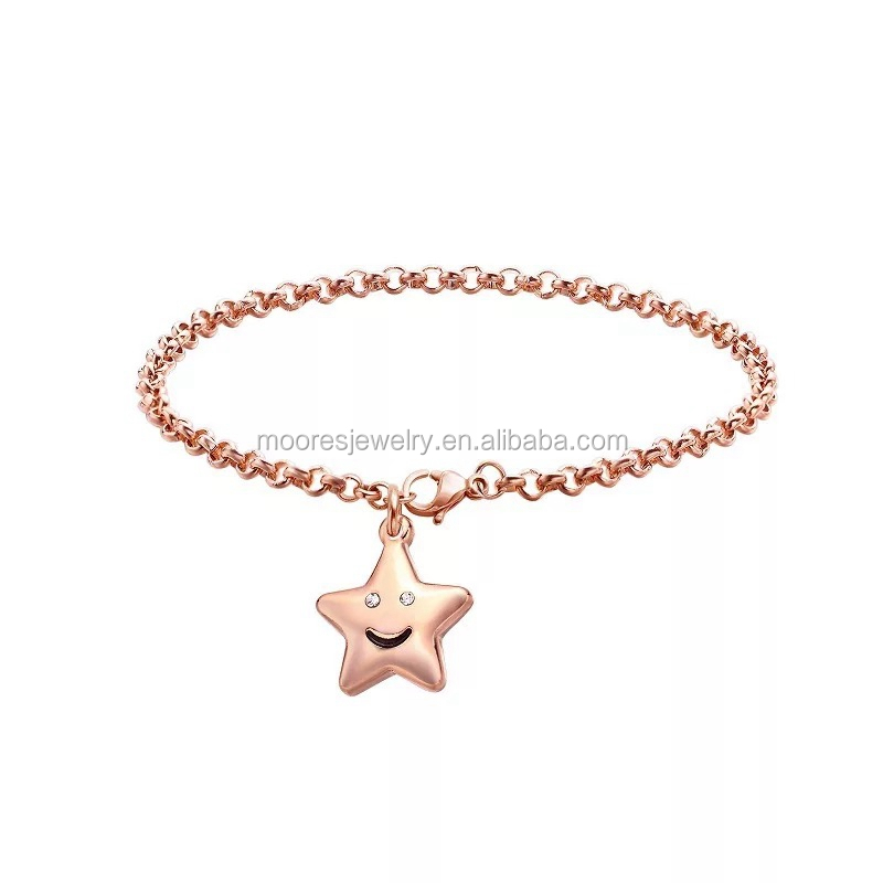 Fashion silver rose gold lucky star charms chain bracelet with crystal for women girls