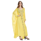 2018 Latest Dubai Jalabia Thobe Chiffon Large Rhinestone Yellow Women India Arabic Kaftan