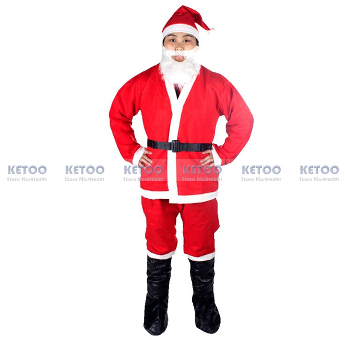 3b3ddf3943 -1set Santa Claus Costume Christmas Adult Clothes Backpack Santa father  Suit X'mas Clothes without Boots and bag Free shipping