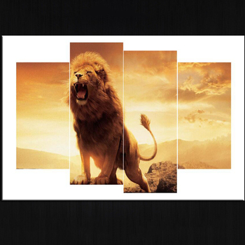 Wholesale Group Multi Panel Printed Canvas Wall Art Prints Lion Painting  Pictures